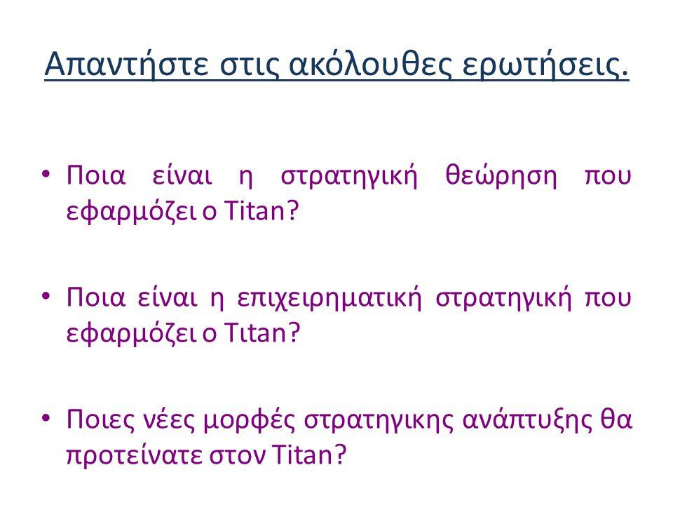 Απαντήστε στις ακόλουθες ερωτήσεις.Ποια είναι η στρατηγική θεώρηση που εφαρμόζει ο Τitan.
