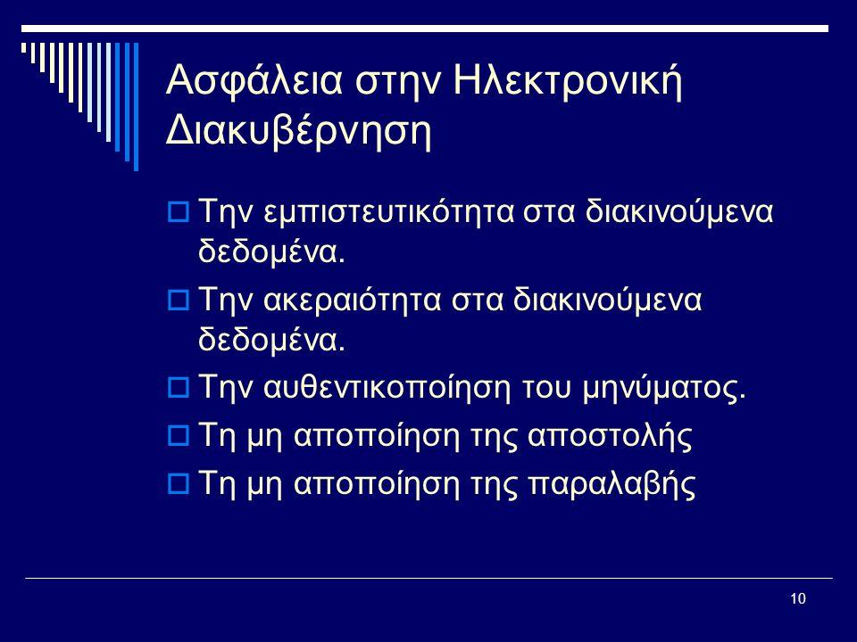 10 Ασφάλεια στην Ηλεκτρονική Διακυβέρνηση  Την εμπιστευτικότητα στα διακινούμενα δεδομένα.