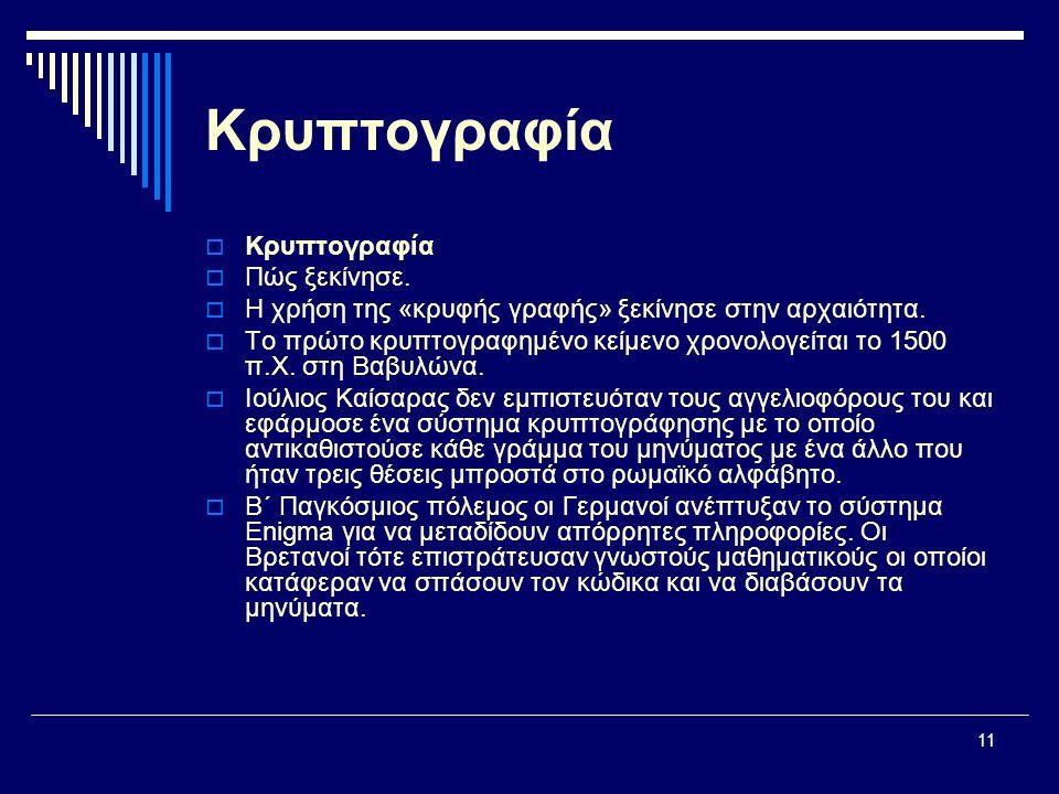 11 Κρυπτογραφία  Κρυπτογραφία  Πώς ξεκίνησε.