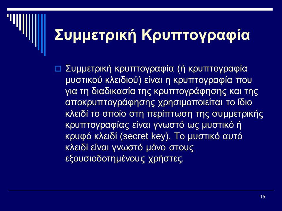 15 Συμμετρική Κρυπτογραφία  Συμμετρική κρυπτογραφία (ή κρυπτογραφία μυστικού κλειδιού) είναι η κρυπτογραφία που για τη διαδικασία της κρυπτογράφησης και της αποκρυπτογράφησης χρησιμοποιείται το ίδιο κλειδί το οποίο στη περίπτωση της συμμετρικής κρυπτογραφίας είναι γνωστό ως μυστικό ή κρυφό κλειδί (secret key).