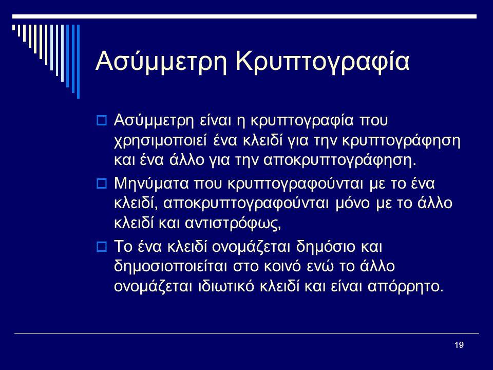 19 Ασύμμετρη Κρυπτογραφία  Ασύμμετρη είναι η κρυπτογραφία που χρησιμοποιεί ένα κλειδί για την κρυπτογράφηση και ένα άλλο για την αποκρυπτογράφηση.