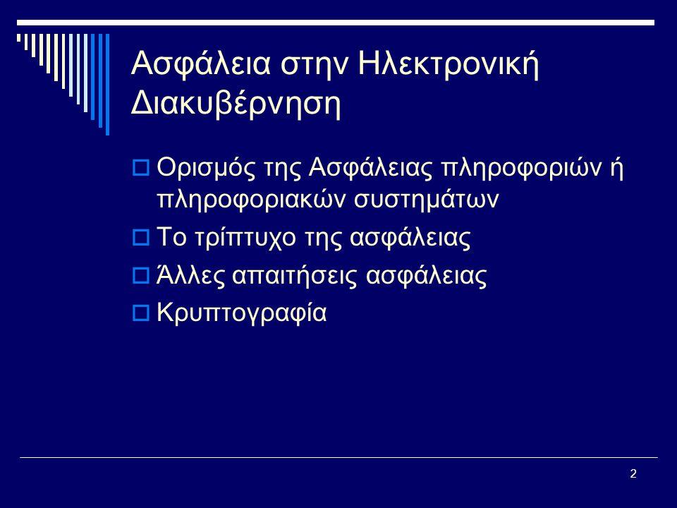 23 Ασύμμετρη Κρυπτογραφία  Κάθε ενδιαφερόμενος μπορεί να έχει πρόσβαση στη Βάση Δημόσιων Κλειδιών για να πληροφορείται το δημόσιο κλειδί οποιουδήποτε χρήστη μαζί με τα αντίστοιχα στοιχεία ταυτοποίησης του ιδιοκτήτη που το συνοδεύουν.