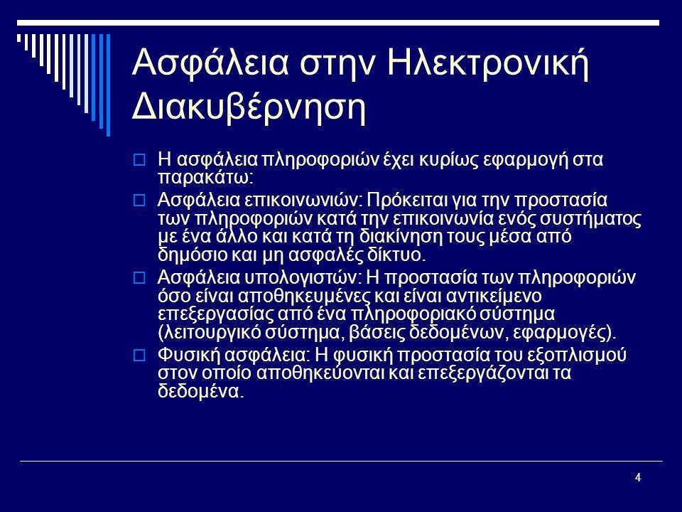 4 Ασφάλεια στην Ηλεκτρονική Διακυβέρνηση  Η ασφάλεια πληροφοριών έχει κυρίως εφαρμογή στα παρακάτω:  Ασφάλεια επικοινωνιών: Πρόκειται για την προστασία των πληροφοριών κατά την επικοινωνία ενός συστήματος με ένα άλλο και κατά τη διακίνηση τους μέσα από δημόσιο και μη ασφαλές δίκτυο.