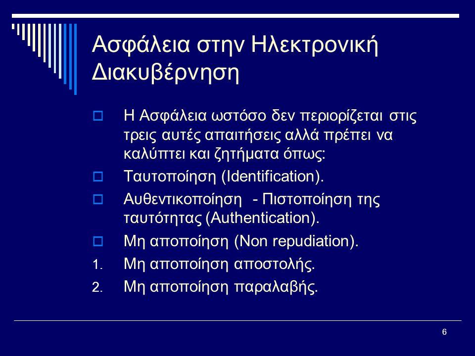 7 Ασφάλεια στην Ηλεκτρονική Διακυβέρνηση  Ειδικότερα:  Ταυτοποίηση: Η διαδικασία κατά την οποία μια οντότητα (π.χ.