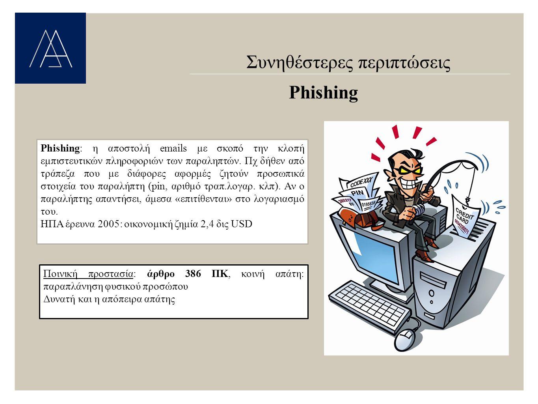 Συνηθέστερες περιπτώσεις Phishing Phishing: η αποστολή emails με σκοπό την κλοπή εμπιστευτικών πληροφοριών των παραληπτών.
