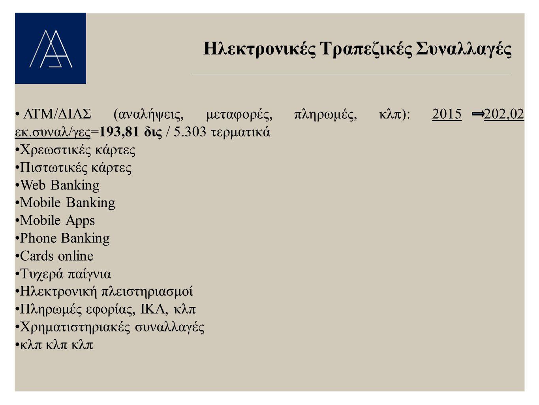 Ηλεκτρονικές Τραπεζικές Συναλλαγές ΑΤΜ/ΔΙΑΣ (αναλήψεις, μεταφορές, πληρωμές, κλπ): 2015 202,02 εκ.συναλ/γες=193,81 δις / 5.303 τερματικά Χρεωστικές κάρτες Πιστωτικές κάρτες Web Banking Mobile Banking Mobile Apps Phone Banking Cards online Τυχερά παίγνια Ηλεκτρονική πλειστηριασμοί Πληρωμές εφορίας, ΙΚΑ, κλπ Χρηματιστηριακές συναλλαγές κλπ κλπ κλπ