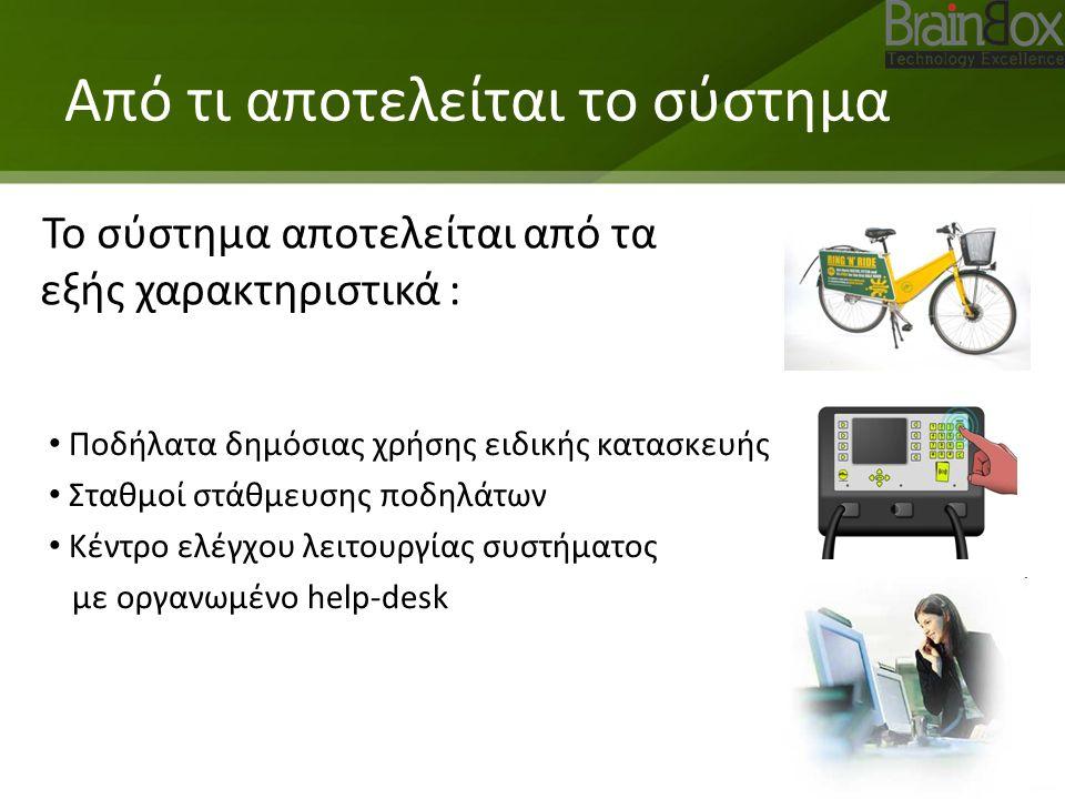 Από τι αποτελείται το σύστημα Το σύστημα αποτελείται από τα εξής χαρακτηριστικά : Ποδήλατα δημόσιας χρήσης ειδικής κατασκευής Σταθμοί στάθμευσης ποδηλάτων Κέντρο ελέγχου λειτουργίας συστήματος με οργανωμένο help-desk