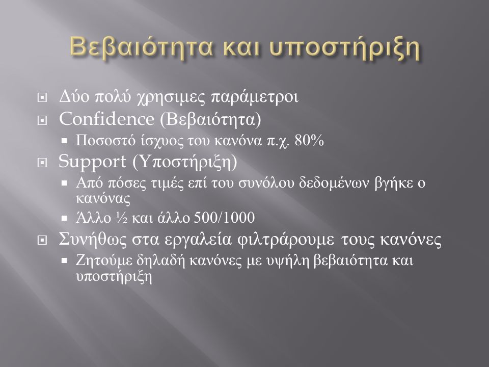  Δύο πολύ χρησιμες παράμετροι  Confidence ( Βεβαιότητα )  Ποσοστό ίσχυος του κανόνα π. χ. 80%  Support ( Υποστήριξη )  Από πόσες τιμές επί του συ