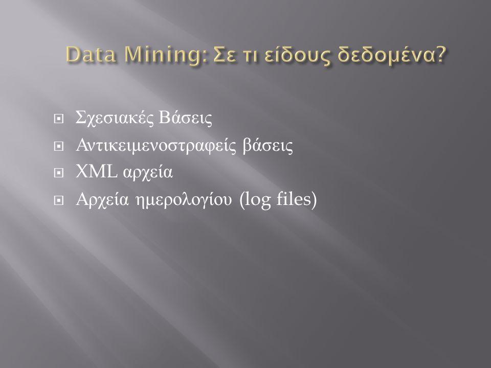  Σχεσιακές Βάσεις  Αντικειμενοστραφείς βάσεις  XML αρχεία  Αρχεία ημερολογίου (log files)