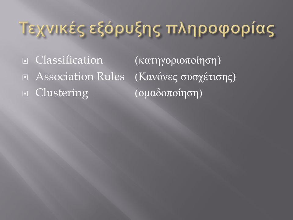  Classification ( κατηγοριοποίηση )  Association Rules ( Κανόνες συσχέτισης )  Clustering( ομαδοποίηση )
