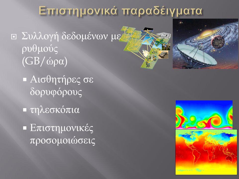  Συλλογή δεδομένων με ρυθμούς (GB/ ώρα )  Αισθητήρες σε δορυφόρους  τηλεσκόπια  Επιστημονικές προσομοιώσεις