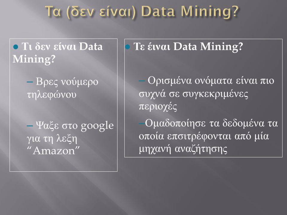 l Τε έιναι Data Mining? – Ορισμένα ονόματα είναι πιο συχνά σε συγκεκριμένες περιοχές – Ομαδοποίησε τα δεδομένα τα οποία επσιτρέφονται από μία μηχανή α