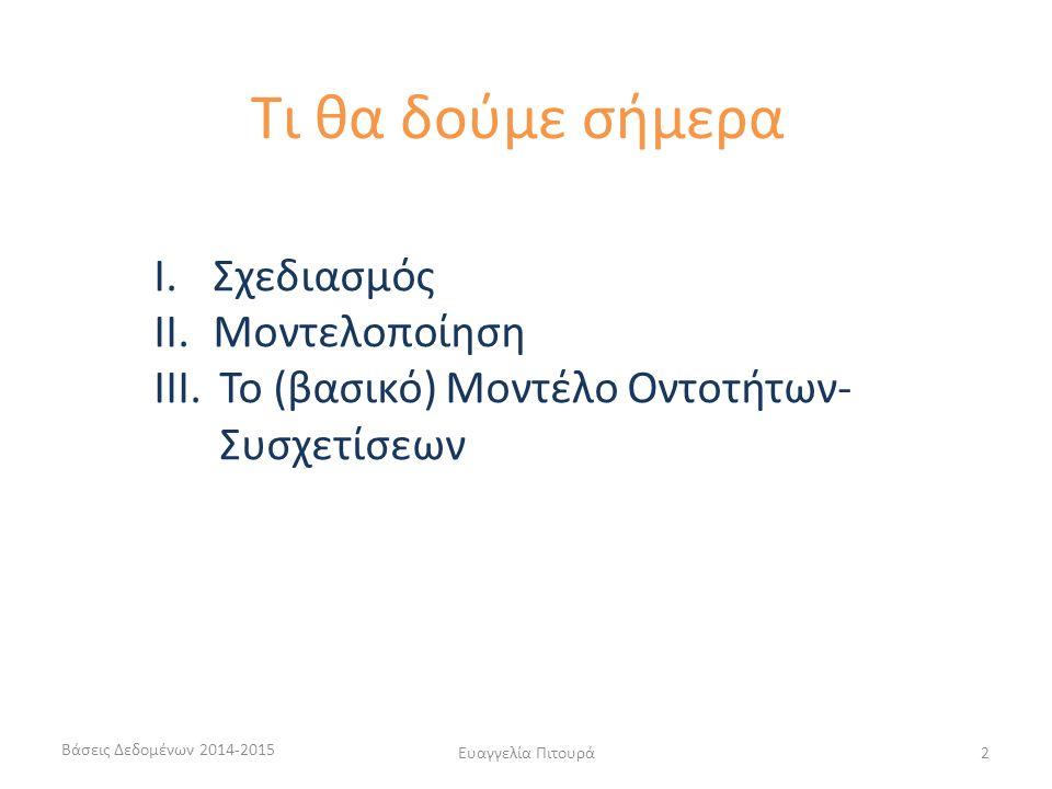 Ευαγγελία Πιτουρά2 I.Σχεδιασμός II.Μοντελοποίηση III.Το (βασικό) Μοντέλο Οντοτήτων- Συσχετίσεων Τι θα δούμε σήμερα Βάσεις Δεδομένων 2014-2015