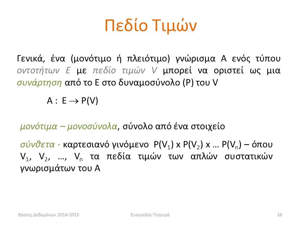Ευαγγελία Πιτουρά26 Γενικά, ένα (μονότιμο ή πλειότιμο) γνώρισμα Α ενός τύπου οντοτήτων Ε με πεδίο τιμών V μπορεί να οριστεί ως μια συνάρτηση από το Ε στο δυναμοσύνολο (P) του V Α : Ε  P(V) μονότιμα – μονοσύνολα, σύνολο από ένα στοιχείο σύνθετα - καρτεσιανό γινόμενο P(V 1 ) x P(V 2 ) x … P(V n ) – όπου V 1, V 2, …, V n τα πεδία τιμών των απλών συστατικών γνωρισμάτων του Α Πεδίο Τιμών Βάσεις Δεδομένων 2014-2015