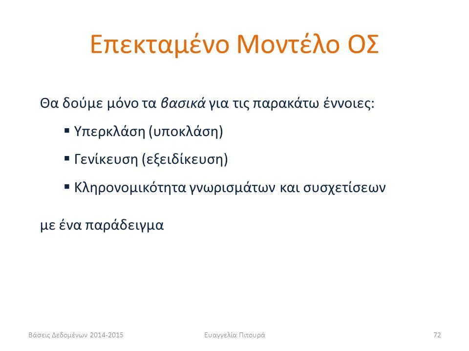 Ευαγγελία Πιτουρά72 Θα δούμε μόνο τα βασικά για τις παρακάτω έννοιες:  Υπερκλάση (υποκλάση)  Γενίκευση (εξειδίκευση)  Κληρονομικότητα γνωρισμάτων και συσχετίσεων με ένα παράδειγμα Επεκταμένο Μοντέλο ΟΣ Βάσεις Δεδομένων 2014-2015