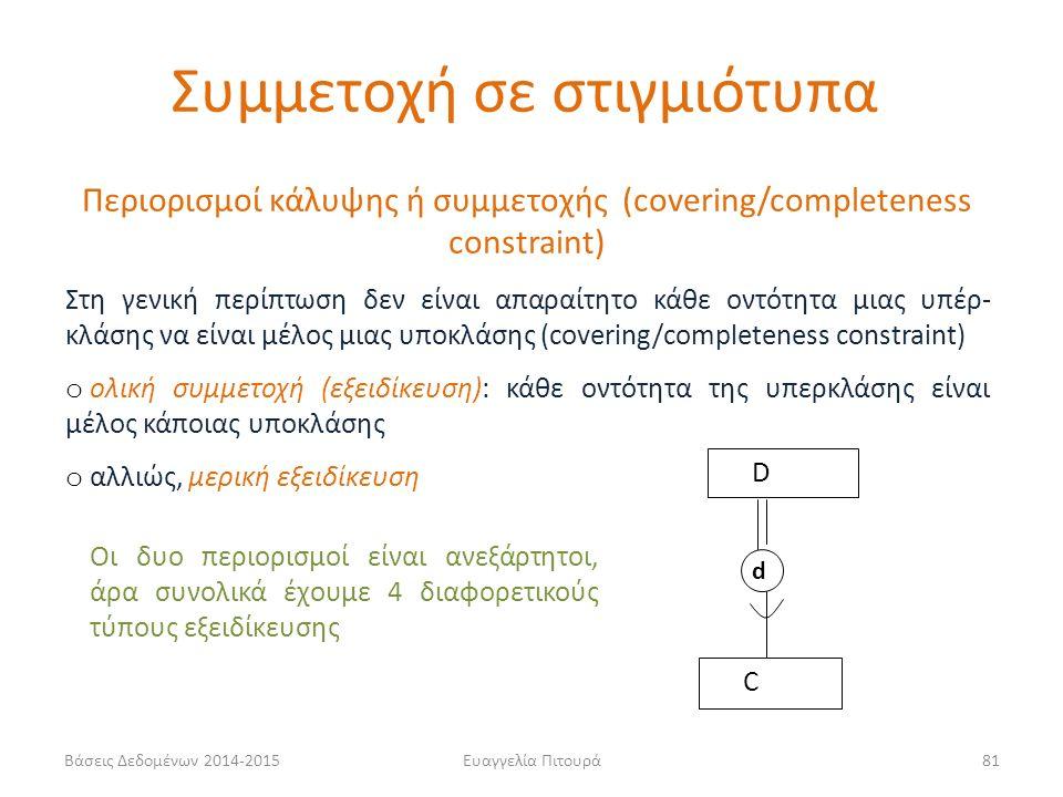 Ευαγγελία Πιτουρά81 Περιορισμοί κάλυψης ή συμμετοχής (covering/completeness constraint) Στη γενική περίπτωση δεν είναι απαραίτητο κάθε οντότητα μιας υπέρ- κλάσης να είναι μέλος μιας υποκλάσης (covering/completeness constraint) o ολική συμμετοχή (εξειδίκευση): κάθε οντότητα της υπερκλάσης είναι μέλος κάποιας υποκλάσης o αλλιώς, μερική εξειδίκευση D C d Οι δυο περιορισμοί είναι ανεξάρτητοι, άρα συνολικά έχουμε 4 διαφορετικούς τύπους εξειδίκευσης Συμμετοχή σε στιγμιότυπα Βάσεις Δεδομένων 2014-2015