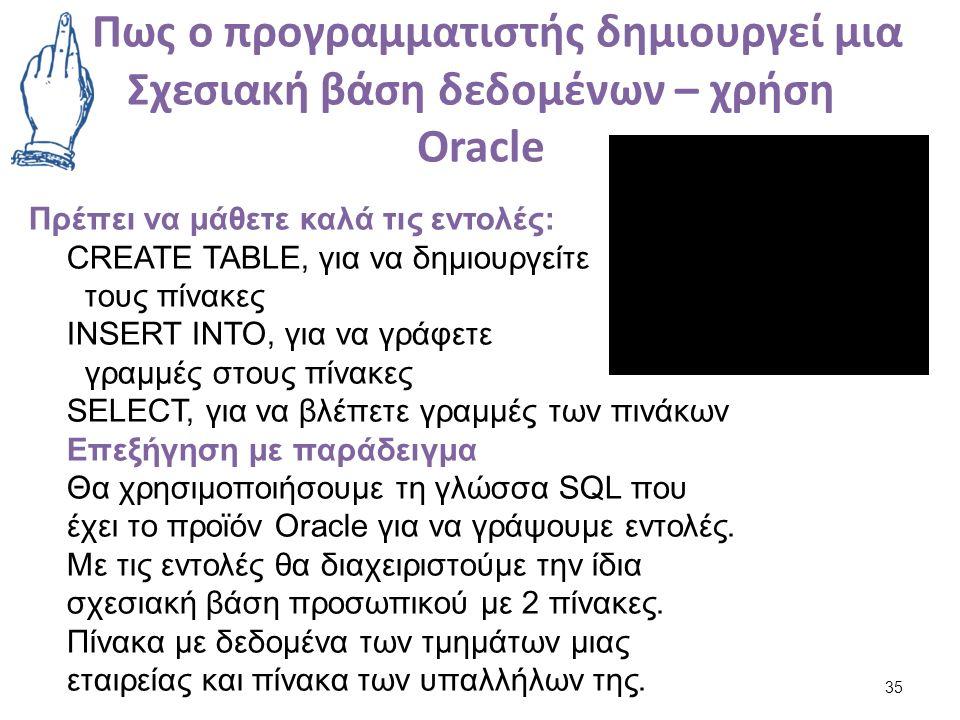 Πως ο προγραμματιστής δημιουργεί μια Σχεσιακή βάση δεδομένων – χρήση Oracle 35 Πρέπει να μάθετε καλά τις εντολές: CREATE TABLE, για να δημιουργείτε τους πίνακες INSERT INTO, για να γράφετε γραμμές στους πίνακες SELECT, για να βλέπετε γραμμές των πινάκων Επεξήγηση με παράδειγμα Θα χρησιμοποιήσουμε τη γλώσσα SQL που έχει το προϊόν Oracle για να γράψουμε εντολές.