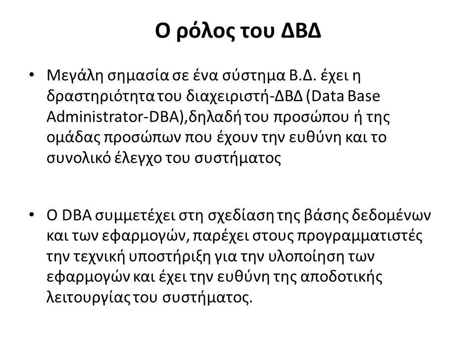 Ο ρόλος του ΔΒΔ Μεγάλη σημασία σε ένα σύστημα Β.Δ.