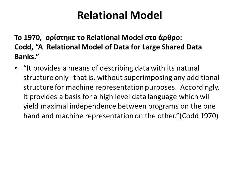 Σχεσιακό μοντέλο Σχεσιακή βάση δεδομένων 28 Πρέπει να μάθετε καλά την έννοια: Σχεσιακή βάση δεδομένων.