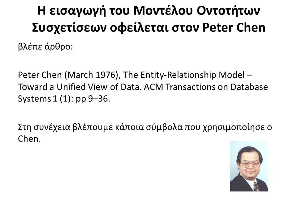 Η εισαγωγή του Μοντέλου Οντοτήτων Συσχετίσεων οφείλεται στον Peter Chen βλέπε άρθρο: Peter Chen (March 1976), The Entity-Relationship Model – Toward a Unified View of Data.