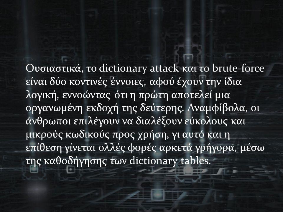 Ουσιαστικά, το dictionary attack και το brute-force είναι δύο κοντινές έννοιες, αφού έχουν την ίδια λογική, εννοώντας ότι η πρώτη αποτελεί μια οργανωμένη εκδοχή της δεύτερης.
