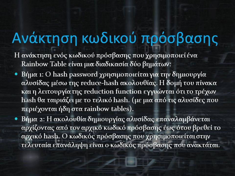 Ανάκτηση κωδικού πρόσβασης Η ανάκτηση ενός κωδικού πρόσβασης που χρησιμοποιεί ένα Rainbow Table είναι μια διαδικασία δύο βημάτων: Βήμα 1: Ο hash password χρησιμοποιείται για την δημιουργία αλυσίδας μέσω της reduce-hash ακολουθίας.