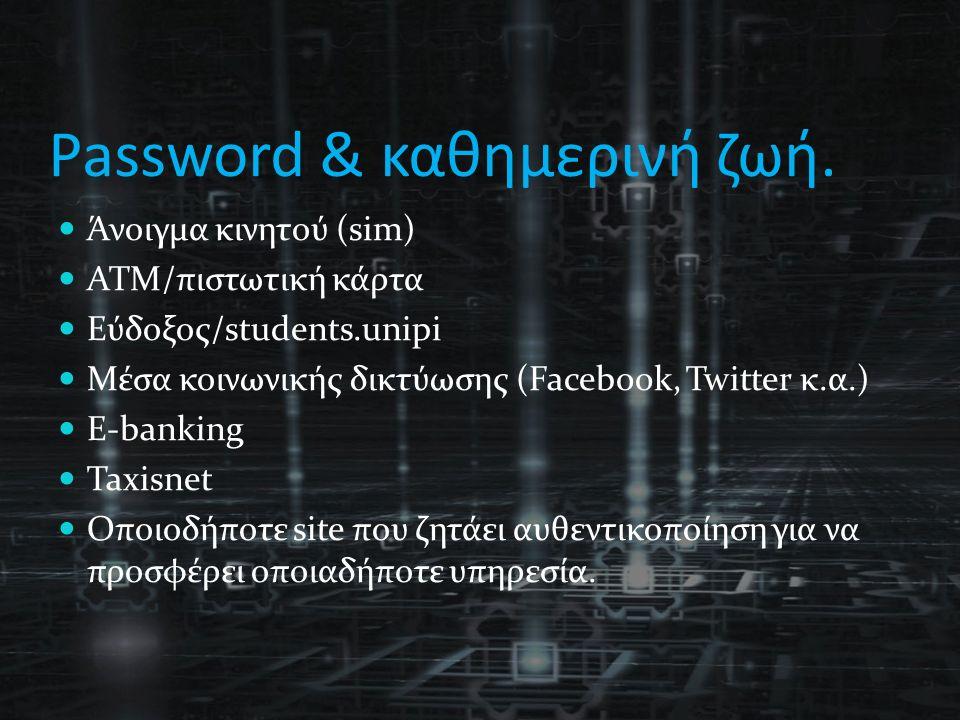 Password & καθημερινή ζωή. Άνοιγμα κινητού (sim) ΑΤΜ/πιστωτική κάρτα Εύδοξος/students.unipi Μέσα κοινωνικής δικτύωσης (Facebook, Twitter κ.α.) E-banki