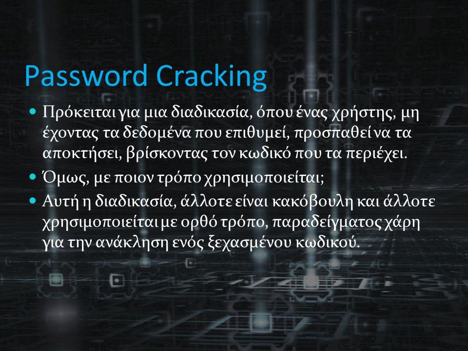 Password Cracking Πρόκειται για μια διαδικασία, όπου ένας χρήστης, μη έχοντας τα δεδομένα που επιθυμεί, προσπαθεί να τα αποκτήσει, βρίσκοντας τον κωδικό που τα περιέχει.