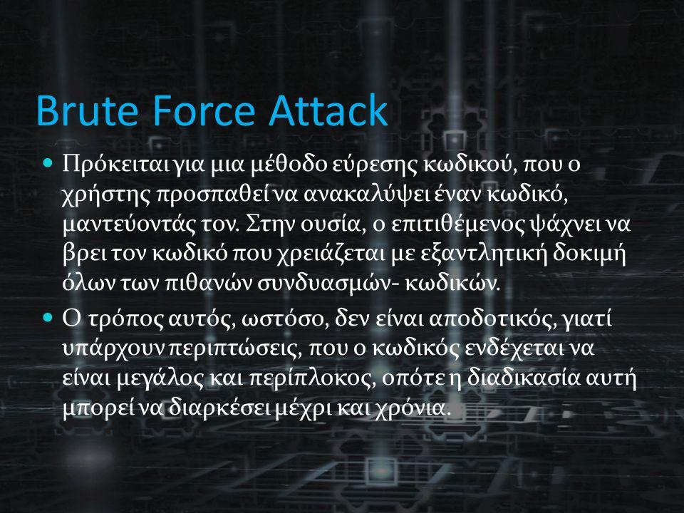 Brute Force Attack Πρόκειται για μια μέθοδο εύρεσης κωδικού, που ο χρήστης προσπαθεί να ανακαλύψει έναν κωδικό, μαντεύοντάς τον.