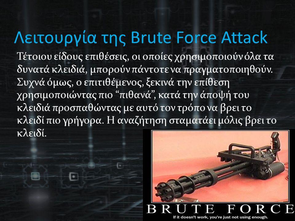 Λειτουργία της Brute Force Attack Τέτοιου είδους επιθέσεις, οι οποίες χρησιμοποιούν όλα τα δυνατά κλειδιά, μπορούν πάντοτε να πραγματοποιηθούν.