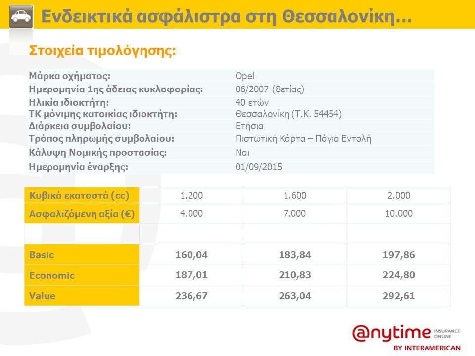Στοιχεία τιμολόγησης: Ενδεικτικά ασφάλιστρα στη Θεσσαλονίκη… Μάρκα οχήματος:Opel Ημερομηνία 1ης άδειας κυκλοφορίας:06/2007 (8ετίας) Ηλικία ιδιοκτήτη:4