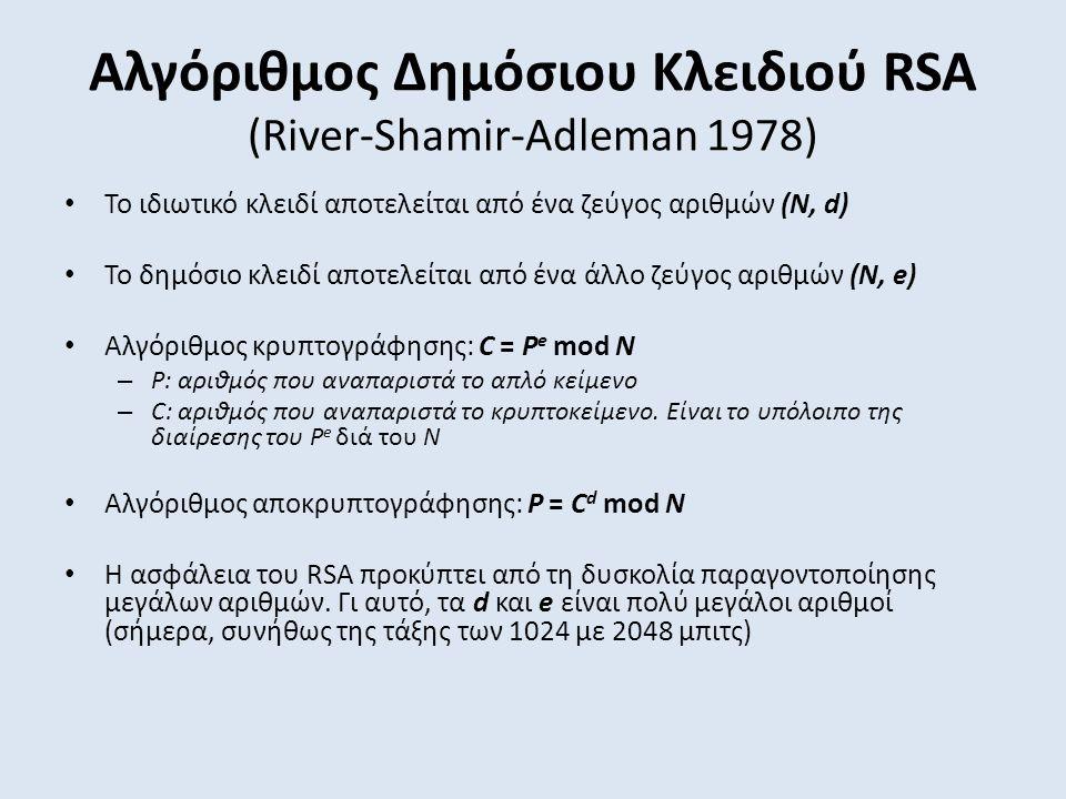Αλγόριθμος Δημόσιου Κλειδιού RSA (River-Shamir-Adleman 1978) Το ιδιωτικό κλειδί αποτελείται από ένα ζεύγος αριθμών (Ν, d) Το δημόσιο κλειδί αποτελείται από ένα άλλο ζεύγος αριθμών (Ν, e) Αλγόριθμος κρυπτογράφησης: C = P e mod N – P: αριθμός που αναπαριστά το απλό κείμενο – C: αριθμός που αναπαριστά το κρυπτοκείμενο.