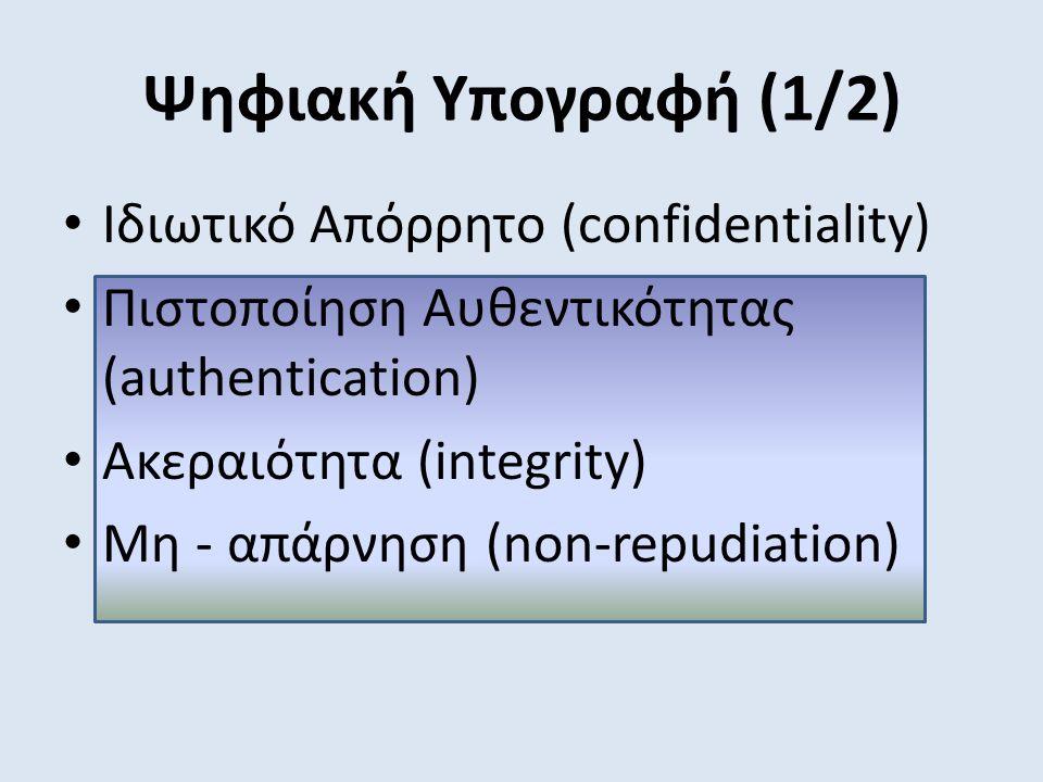 Ψηφιακή Υπογραφή (1/2) Ιδιωτικό Απόρρητο (confidentiality) Πιστοποίηση Αυθεντικότητας (authentication) Ακεραιότητα (integrity) Μη - απάρνηση (non-repudiation)