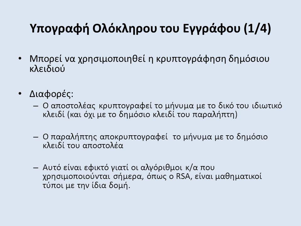 Υπογραφή Ολόκληρου του Εγγράφου (1/4) Μπορεί να χρησιμοποιηθεί η κρυπτογράφηση δημόσιου κλειδιού Διαφορές: – Ο αποστολέας κρυπτογραφεί το μήνυμα με το δικό του ιδιωτικό κλειδί (και όχι με το δημόσιο κλειδί του παραλήπτη) – Ο παραλήπτης αποκρυπτογραφεί το μήνυμα με το δημόσιο κλειδί του αποστολέα – Αυτό είναι εφικτό γιατί οι αλγόριθμοι κ/α που χρησιμοποιούνται σήμερα, όπως ο RSA, είναι μαθηματικοί τύποι με την ίδια δομή.