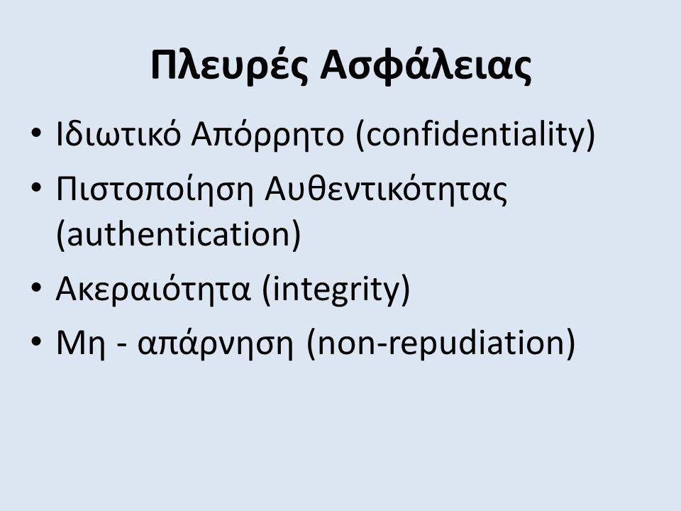 Πλευρές Ασφάλειας Ιδιωτικό Απόρρητο (confidentiality) Πιστοποίηση Αυθεντικότητας (authentication) Ακεραιότητα (integrity) Μη - απάρνηση (non-repudiation)