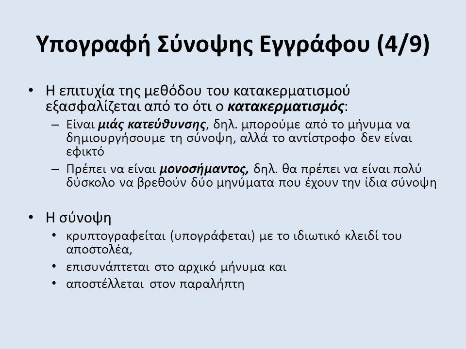Υπογραφή Σύνοψης Εγγράφου (4/9) Η επιτυχία της μεθόδου του κατακερματισμού εξασφαλίζεται από το ότι ο κατακερματισμός: – Είναι μιάς κατεύθυνσης, δηλ.