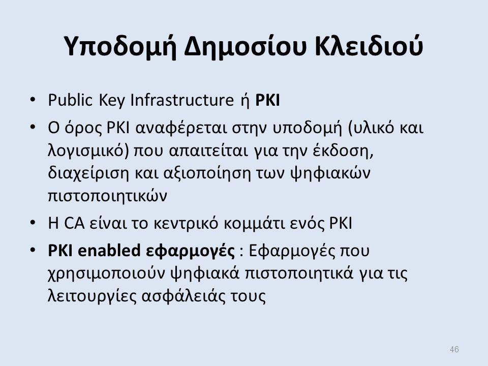 46 Υποδομή Δημοσίου Κλειδιού Public Key Infrastructure ή PKI Ο όρος PKI αναφέρεται στην υποδομή (υλικό και λογισμικό) που απαιτείται για την έκδοση, διαχείριση και αξιοποίηση των ψηφιακών πιστοποιητικών Η CA είναι το κεντρικό κομμάτι ενός PKI PKI enabled εφαρμογές : Εφαρμογές που χρησιμοποιούν ψηφιακά πιστοποιητικά για τις λειτουργίες ασφάλειάς τους