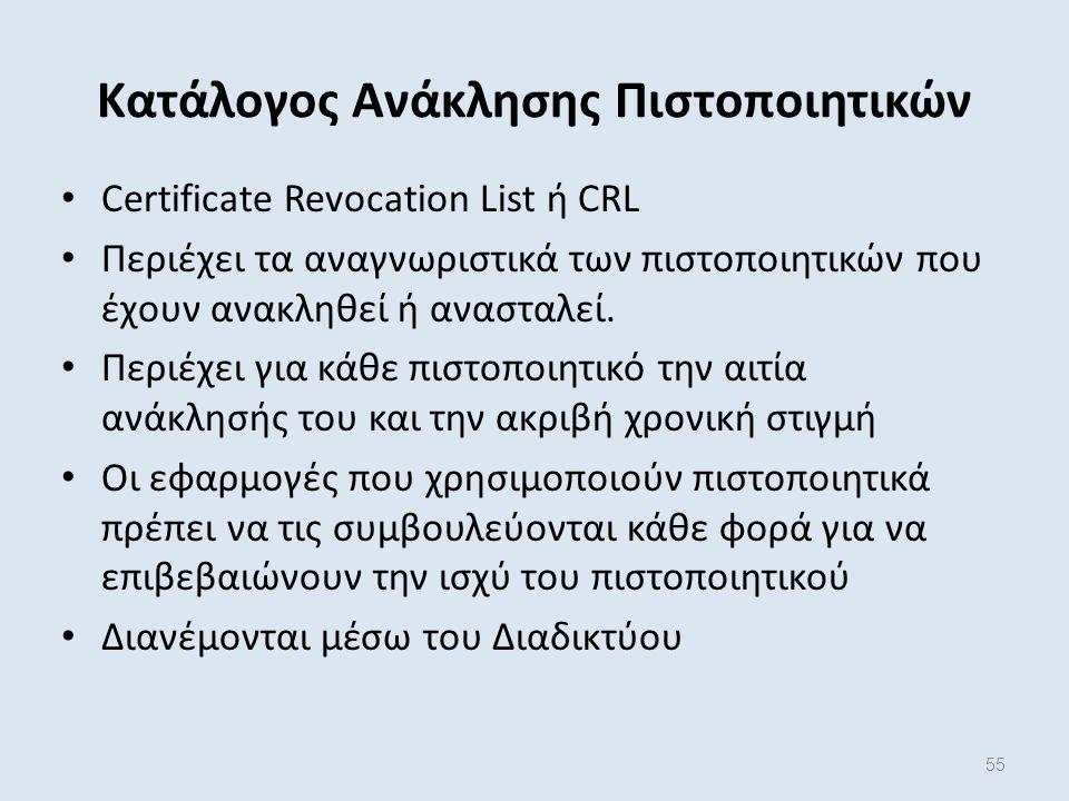 55 Κατάλογος Ανάκλησης Πιστοποιητικών Certificate Revocation List ή CRL Περιέχει τα αναγνωριστικά των πιστοποιητικών που έχουν ανακληθεί ή ανασταλεί.