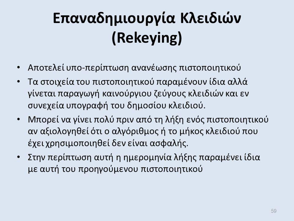 59 Επαναδημιουργία Κλειδιών (Rekeying) Αποτελεί υπο-περίπτωση ανανέωσης πιστοποιητικού Τα στοιχεία του πιστοποιητικού παραμένουν ίδια αλλά γίνεται παραγωγή καινούργιου ζεύγους κλειδιών και εν συνεχεία υπογραφή του δημοσίου κλειδιού.