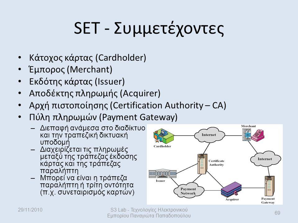 29/11/2010S3 Lab - Τεχνολογίες Ηλεκτρονικού Εμπορίου Παναγιώτα Παπαδοπούλου 69 Κάτοχος κάρτας (Cardholder) Έμπορος (Merchant) Εκδότης κάρτας (Issuer) Αποδέκτης πληρωμής (Acquirer) Αρχή πιστοποίησης (Certification Authority – CA) Πύλη πληρωμών (Payment Gateway) SET - Συμμετέχοντες –Διεπαφή ανάμεσα στο διαδίκτυο και την τραπεζική δικτυακή υποδομή –Διαχειρίζεται τις πληρωμές μεταξύ της τράπεζας έκδοσης κάρτας και της τράπεζας παραλήπτη –Μπορεί να είναι η τράπεζα παραλήπτη ή τρίτη οντότητα (π.χ.