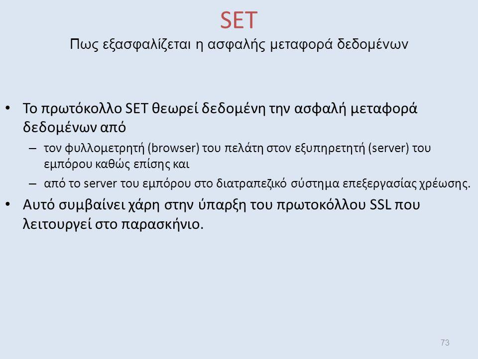 SET Πως εξασφαλίζεται η ασφαλής μεταφορά δεδομένων Το πρωτόκολλο SET θεωρεί δεδομένη την ασφαλή μεταφορά δεδομένων από – τον φυλλομετρητή (browser) του πελάτη στον εξυπηρετητή (server) του εμπόρου καθώς επίσης και – από το server του εμπόρου στο διατραπεζικό σύστημα επεξεργασίας χρέωσης.