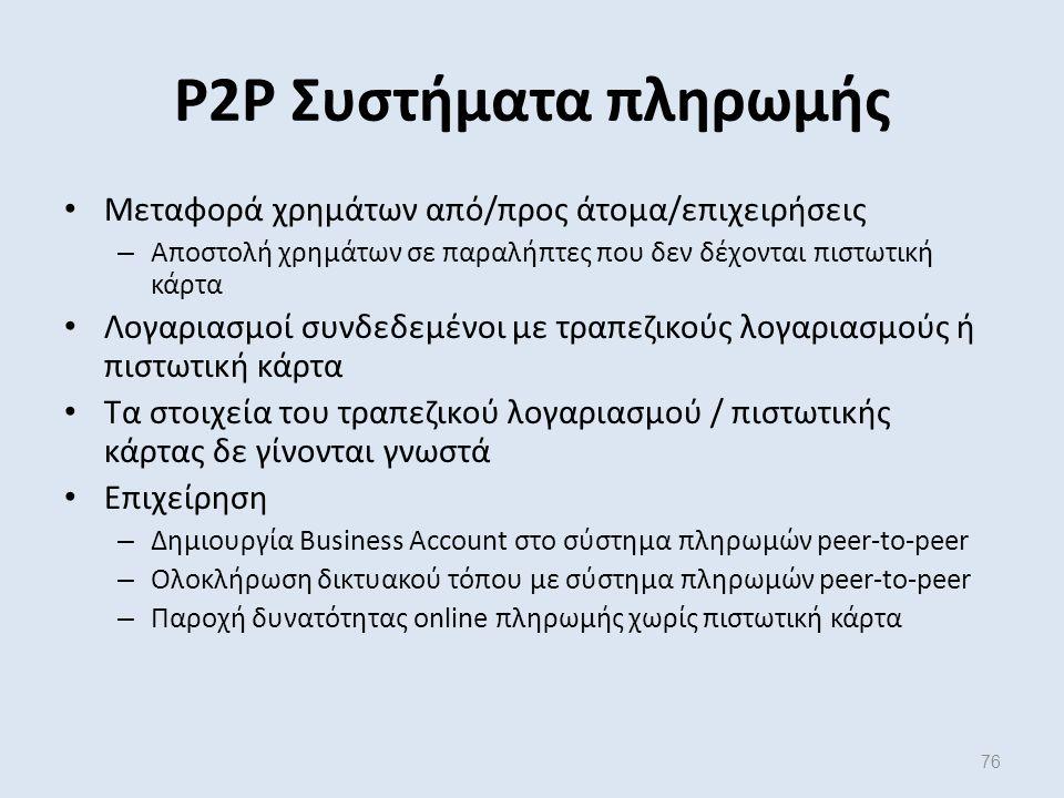 76 Μεταφορά χρημάτων από/προς άτομα/επιχειρήσεις – Αποστολή χρημάτων σε παραλήπτες που δεν δέχονται πιστωτική κάρτα Λογαριασμοί συνδεδεμένοι με τραπεζικούς λογαριασμούς ή πιστωτική κάρτα Τα στοιχεία του τραπεζικού λογαριασμού / πιστωτικής κάρτας δε γίνονται γνωστά Επιχείρηση – Δημιουργία Business Account στο σύστημα πληρωμών peer-to-peer – Ολοκλήρωση δικτυακού τόπου με σύστημα πληρωμών peer-to-peer – Παροχή δυνατότητας online πληρωμής χωρίς πιστωτική κάρτα P2P Συστήματα πληρωμής