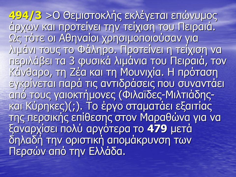 494/3 >Ο Θεμιστοκλής εκλέγεται επώνυμος άρχων και προτείνει την τείχιση του Πειραιά. Ως τότε οι Αθηναίοι χρησιμοποιούσαν για λιμάνι τους το Φάληρο. Πρ