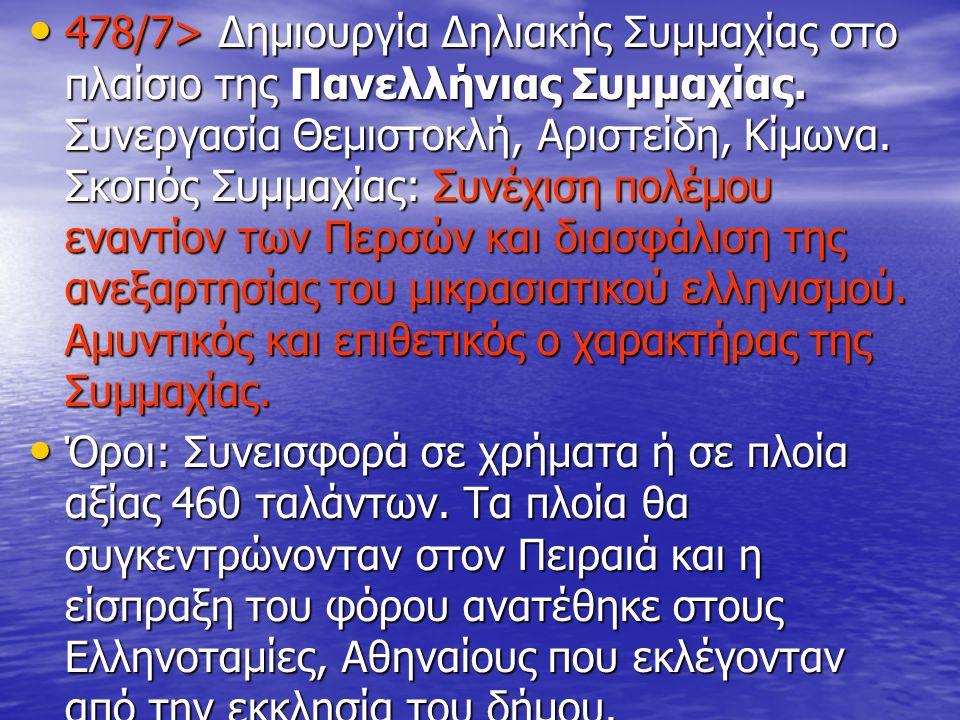 478/7> Δημιουργία Δηλιακής Συμμαχίας στο πλαίσιο της Πανελλήνιας Συμμαχίας. Συνεργασία Θεμιστοκλή, Αριστείδη, Κίμωνα. Σκοπός Συμμαχίας: Συνέχιση πολέμ
