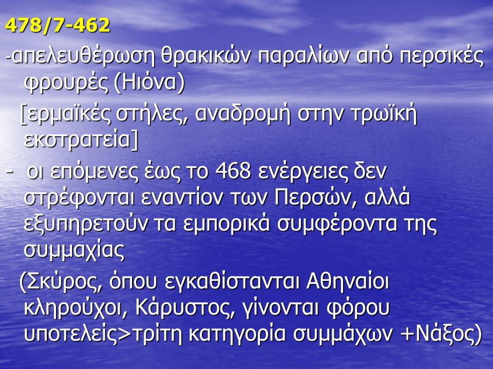 478/7-462 - απελευθέρωση θρακικών παραλίων από περσικές φρουρές (Ηιόνα) [ερμαϊκές στήλες, αναδρομή στην τρωϊκή εκστρατεία] [ερμαϊκές στήλες, αναδρομή στην τρωϊκή εκστρατεία] - οι επόμενες έως το 468 ενέργειες δεν στρέφονται εναντίον των Περσών, αλλά εξυπηρετούν τα εμπορικά συμφέροντα της συμμαχίας (Σκύρος, όπου εγκαθίστανται Αθηναίοι κληρούχοι, Κάρυστος, γίνονται φόρου υποτελείς>τρίτη κατηγορία συμμάχων +Νάξος) (Σκύρος, όπου εγκαθίστανται Αθηναίοι κληρούχοι, Κάρυστος, γίνονται φόρου υποτελείς>τρίτη κατηγορία συμμάχων +Νάξος)