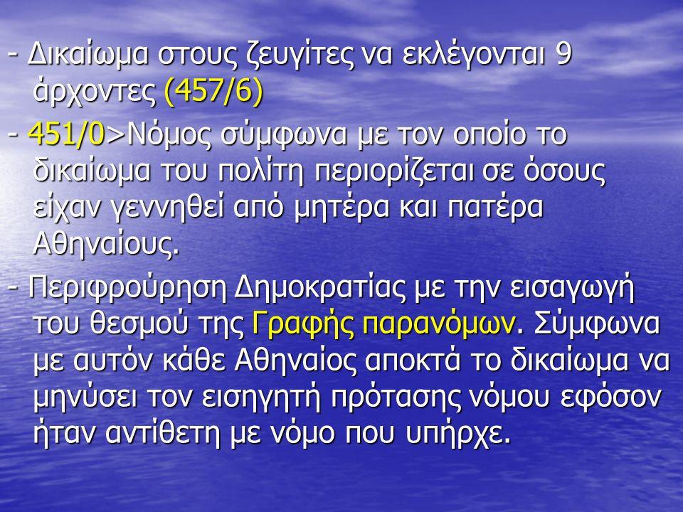 - Δικαίωμα στους ζευγίτες να εκλέγονται 9 άρχοντες (457/6) - 451/0>Νόμος σύμφωνα με τον οποίο το δικαίωμα του πολίτη περιορίζεται σε όσους είχαν γεννηθεί από μητέρα και πατέρα Αθηναίους.