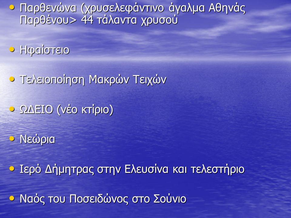 Παρθενώνα (χρυσελεφάντινο άγαλμα Αθηνάς Παρθένου> 44 τάλαντα χρυσού Παρθενώνα (χρυσελεφάντινο άγαλμα Αθηνάς Παρθένου> 44 τάλαντα χρυσού Ηφαίστειο Ηφαίστειο Τελειοποίηση Μακρών Τειχών Τελειοποίηση Μακρών Τειχών ΩΔΕΙΟ (νέο κτίριο) ΩΔΕΙΟ (νέο κτίριο) Νεώρια Νεώρια Ιερό Δήμητρας στην Ελευσίνα και τελεστήριο Ιερό Δήμητρας στην Ελευσίνα και τελεστήριο Ναός του Ποσειδώνος στο Σούνιο Ναός του Ποσειδώνος στο Σούνιο