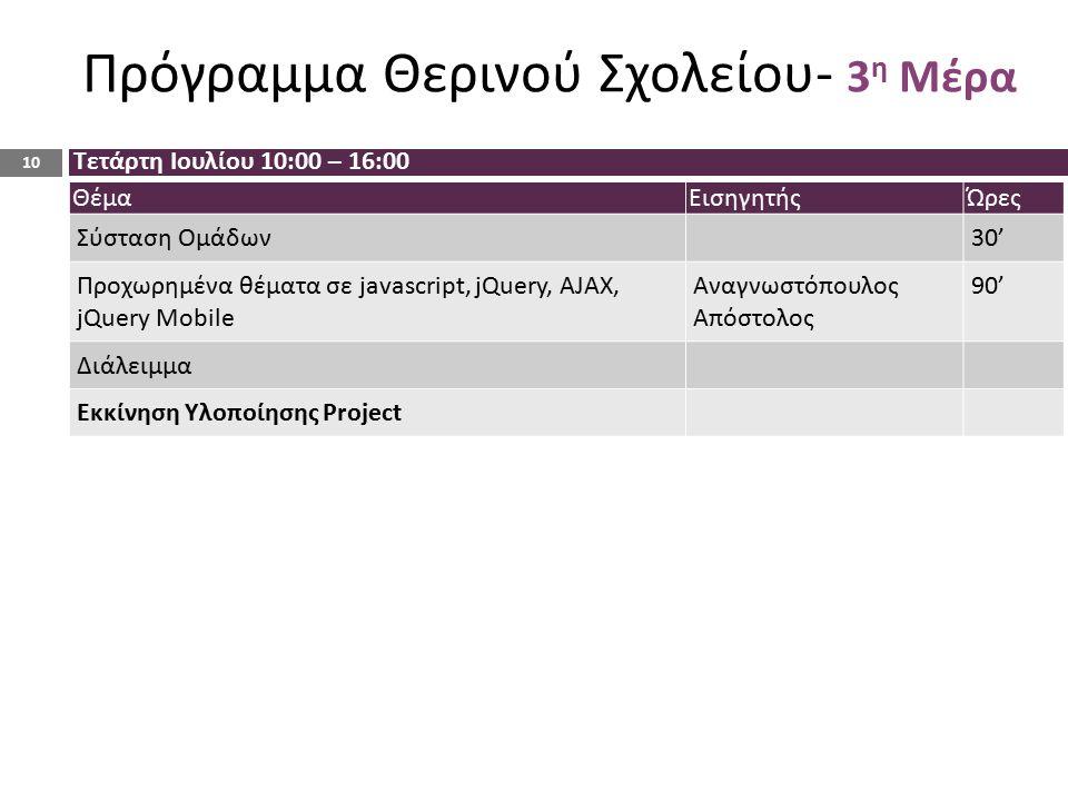 ΘέμαΕισηγητήςΏρες Σύσταση Ομάδων30' Προχωρημένα θέματα σε javascript, jQuery, AJAX, jQuery Mobile Αναγνωστόπουλος Απόστολος 90' Διάλειμμα Εκκίνηση Υλοποίησης Project Τετάρτη Ιουλίου 10:00 – 16:00 10 Πρόγραμμα Θερινού Σχολείου- 3 η Μέρα