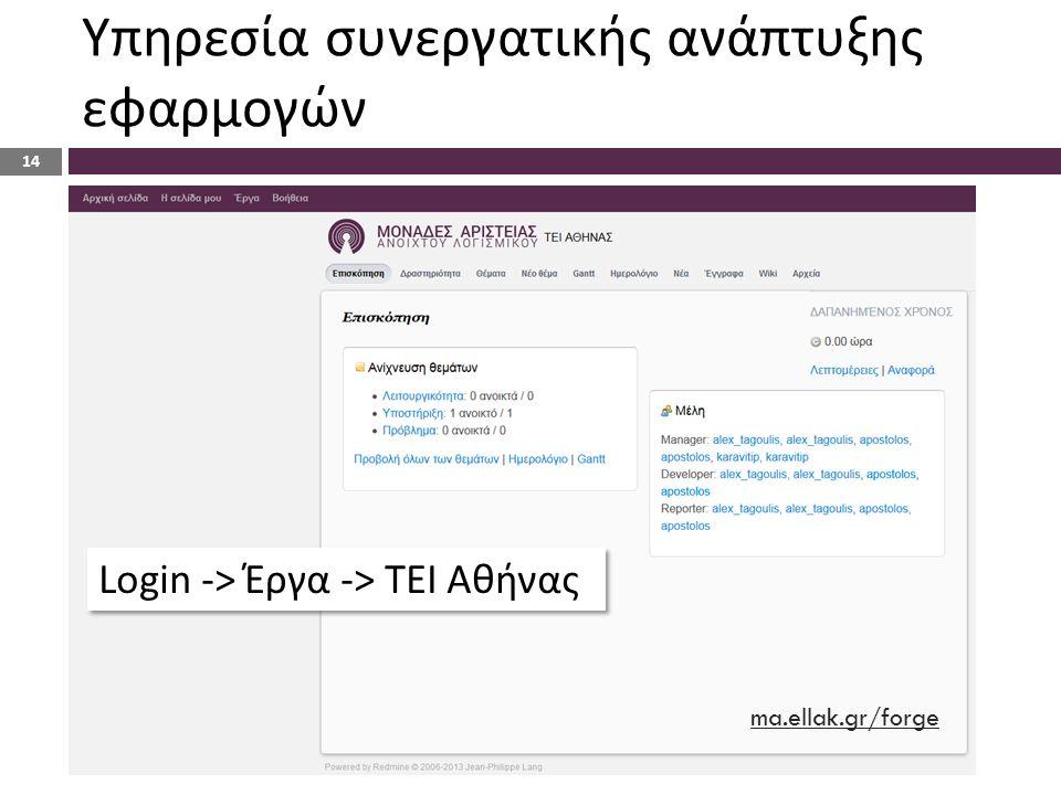 Υπηρεσία συνεργατικής ανάπτυξης εφαρμογών Login -> Έργα -> ΤΕΙ Αθήνας ma.ellak.gr/forge 14