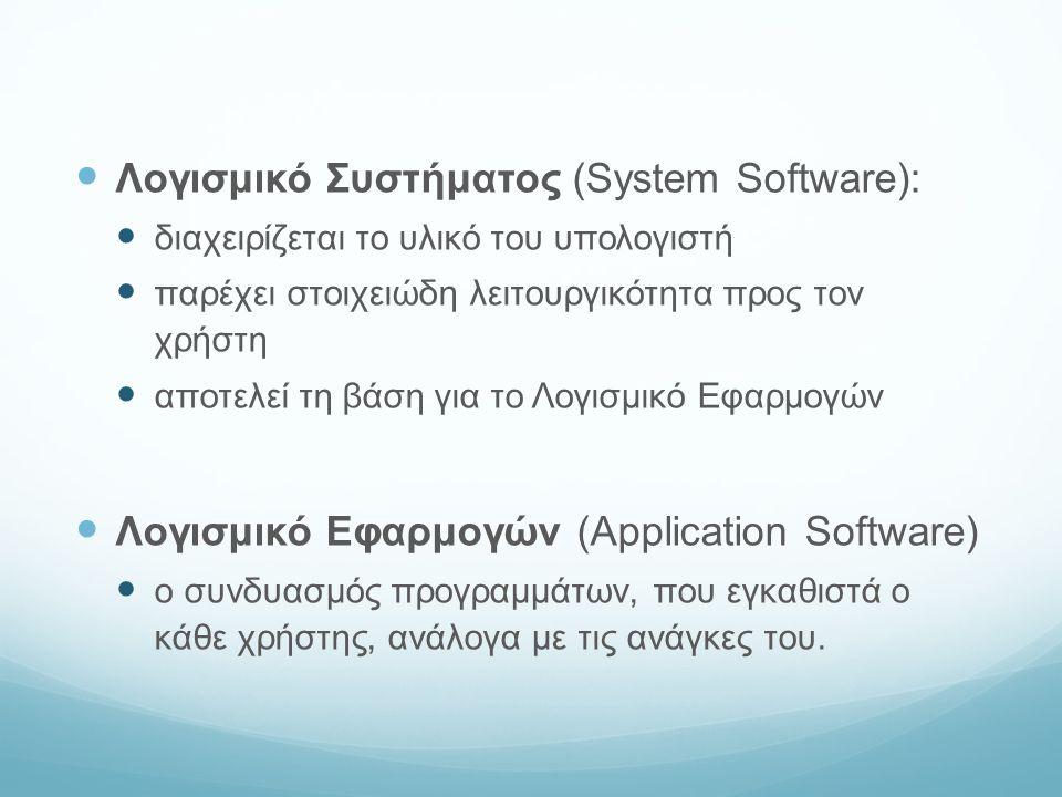 Λογισμικό Συστήματος Περιλαμβάνει: το Λειτουργικό Σύστημα (Operating System - OS), οδηγούς συσκευών (drivers) διαγνωστικά εργαλεία το παραθυρικό σύστημα βοηθητικά προγράμματα κ.ά.